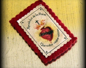 """Lovely Antique French Scapular from """"Apostolat de la Priere"""" (Office of Prayer) Sacred Heart of Jesus"""