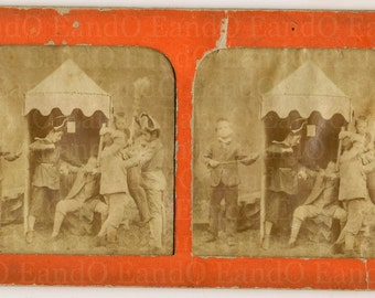 Very Rare, Unusual Stereoview Cards, Stereographic or Stereoscopic Photos - Two Layers Hand Tinted, Unusual Mounting Children at Play 1800s