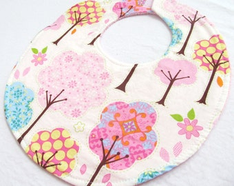 Baby Girl Bib - Pretty Little Things Trees in Cream - Cotton bib with pink terry cloth backing and snagfree velcro closure