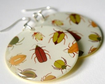 Beetle Earrings - Large Light Weight Resin Earrings with green, red, yellow and orange beetles