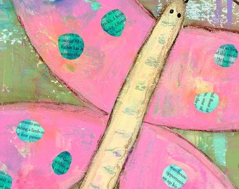 Mixed media art, pink butterfly, butterfly art, fine art print, happy art by Jennifer McCully