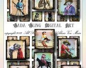 inchies, Buckaroo Babes, digital collage sheets  for art pendants and glass tiles  INSTANT  Digital Download at Checkout, cowgirls, rodeo