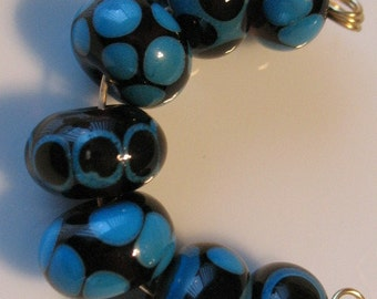 Amber and turquoise lampwork beads-set of seven handmade glass beads-loose beads-SRA