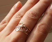 Knotted Up In You Rustic Trinity Sterling Silver - Rose Gold and 14K Gold Filled Stacking Rings - Set of 3