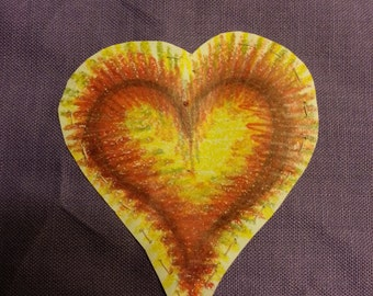 Yellow heart cartoon for bead embroidery