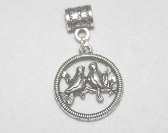 Silver Love Birds Lrg Hole Bead Fits All European Style Add a Bead Charm Bracelet Jewelry PND-Anm100