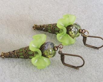 Antique Bronze Lime Green Lucite Ruffled Flower Dangle Earrings