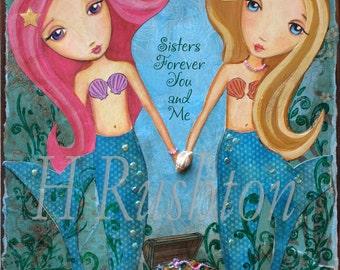 Mermaid Art -Sisters Art-Children Decor-  Mixed Media- Art Print- Whimsical 8x10