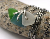 Reserved for ES - Seaglass Necklace Sterling Beach Glass Aqua Green Blue Trio - Another Sip