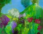 Painting, Original wall art, bright floral abstract Spring Summer landscape, vivid green, sky blue, purple, magenta, 12 x 14