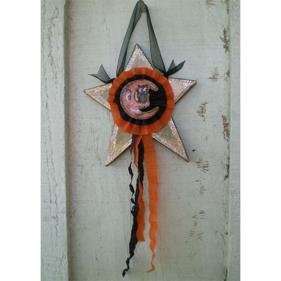 Halloween decoration vintage style star home decor one of a kind collectible moon owl