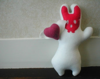 Love Bunny Cashmere heart Ghost Dead White Bunny Rabbit toy