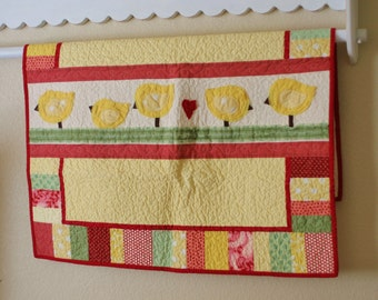 Baby Chicks Baby Quilt in Yellow Green Red