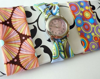 Women's Fabric Watch Set with Round Lavender Watch Face