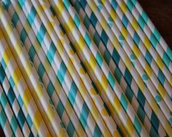30 Despicable Me Party Straws, blue, yellow, aqua