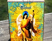ATC ACEO Wooden Block Shelf Sitter Wall Hanging Handmade Decoration Arch Angel Raphael Classic Collage Mixed Media Art