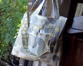 Yellow Grey Diaper Bag - Large - 6 Pockets - Reversible - Adjustable Strap