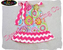 Girl Spring Floral Dress Flowers Pillowcase Easter Toddler Infant Baby Pageant Chevron Gift  Birthday 3 6 9 12 18 24 month 2t 3t 4t 5t 6 7 8