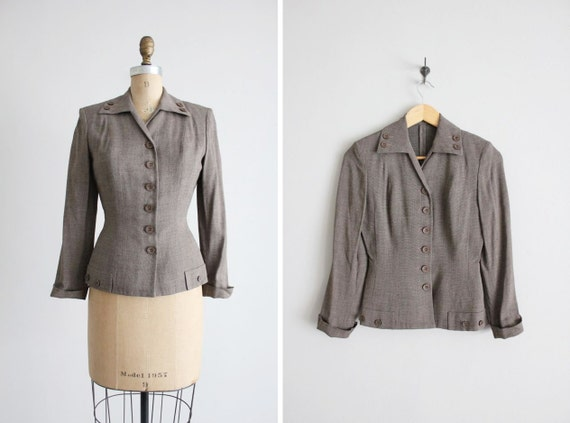 1940s suit jacket / fitted wool blazer