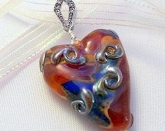 Lampwork heart, glass heart pendant, lampwork pendant