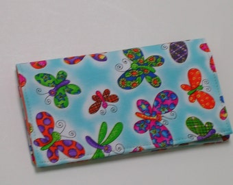 Checkbook Cover for Duplicate Checks with Pocket Flap (cotton fabric)
