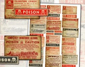 Antique Pharmacy Poison Labels digital collage sheet for altered art mixed media full size sheet props