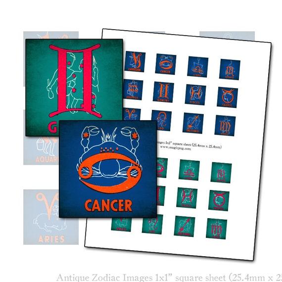 Antique Zodiac Symbol 1x1 inch square inchies digital collage sheet 25.4 mm magenta teal cobalt blue indigo blue gemini taurus capricorn