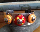 Sterling Silver Cuff Bracelet with Handmade Glass Bobbles