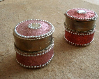 Pair of Vintage Decorated India Brass Glitter Pink Trinket Box Containers 1970s