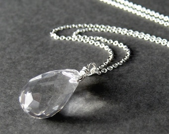 Clear Glass Teardrop Necklace, Faceted Drop Pendant, Silver Chain Necklace, Handmade, Ice Drop