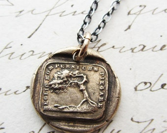 """Tree Italian Motto Wax Seal Necklace  """"Better to Bend Than to Break"""" - go with the flow - the Oak and the Reed aesop fable wax seal jewelry"""