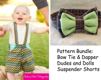 Pattern Bundle: Dapper Dudes and Dolls Suspender Shorts and Bow Tie PDF Sewing Patterns.