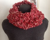Unique, One of a Kind, Hand Knit, Raspberry Stitch, Chunky Infinity Cowl, Pink Blends