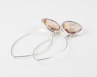 Light Peach Glass, Silver Tone Framed Teardrop Earrings