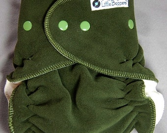 Cloth Diaper Cover Made to Order - Wind Pro Fleece - Forest Green Windpro - You Pick Size and Trim Color of Snaps and Serging Thread