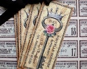 Key Tags - French Key Tags - Vintage Key Tags - Roses, Crown -Set of 4