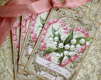 Lily of the Valley Tags - Vintage Lily - My Love Lily Tags - Set of 4