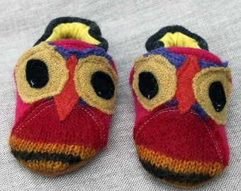 Hoot Owl  Wool Slippers Kids fits 6-12 months old made from recycled materials