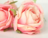 silk flowers - 5 Budding Vintage Inspired Shabby Chic Pink and Cream Cabbage Roses - simplyserra