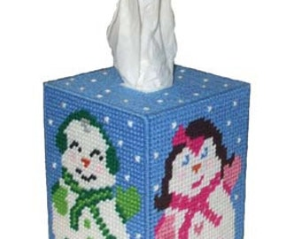 Jolly Snow People Tissue Box Cover Plastic Canvas PDF PATTERN ONLY  **Not Finished Product**