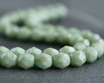 Pale Turquoise Star Dust Czech Glass Bead 6mm Faceted Round - 25 pc