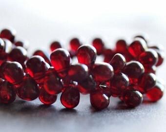 Czech Glass Teardrop Bead Transparent Garnet 4x6mm  : 50 pc Strand Red Small Teardrop