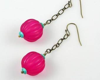 Mod Pink Earrings - Hot Pink and Turquoise Bronze Dangle Earrings