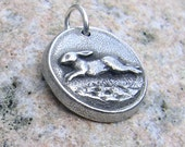 Running Rabbit Pendant, Bunny Charm, Rustic Jewelry, Hand Cast Pewter, Spring Bunny, Woodland Hare