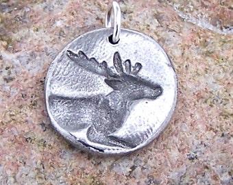 Deer Pendant, Buck Charm, Rustic Deer Jewelry, Pewter Deer Pendant