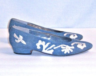 1980s Denim Shoes Embellished Blue/Silver Flat Pointed Toe Shoes Sz 8 J.Renee