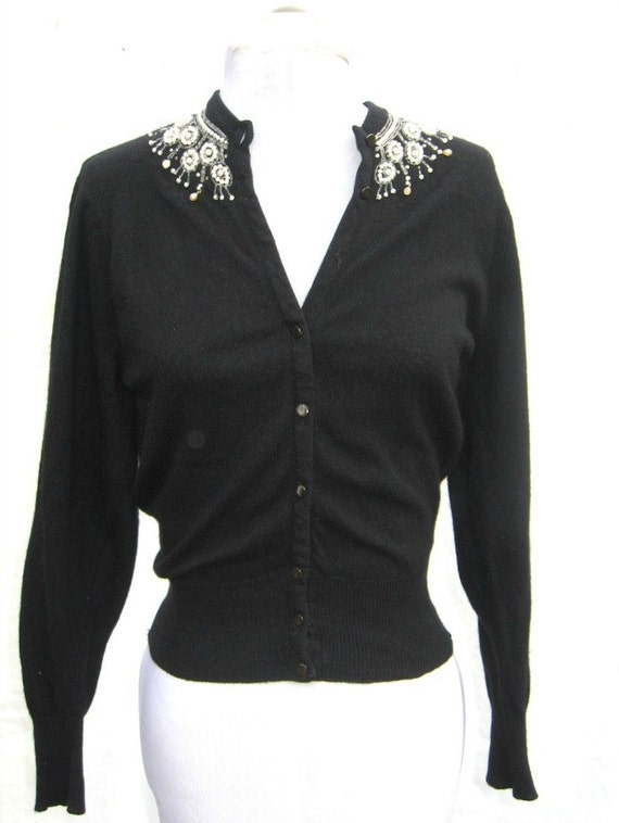 Vtg1950S Cashmere Beaded Black Cardigan Sweater sz XS/S