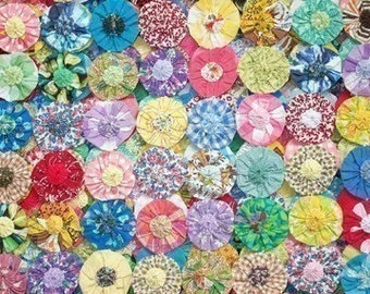 How To Make Fabric YoYo Kit Applique Fabric Flower Quilt DIY Birthday Garland Wedding Bead Brooch Hair Clip Barrette Pin Scrapbook 1/2 Off