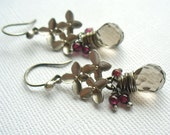 Wire Wrapped Briolette,  Gray Glass Earrings with Garnets, Flowers