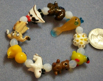 Childs Lampwork Animal Bracelet (857)